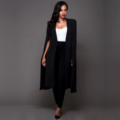 Black Solid color long big Cape European and American plus size women's suit coat