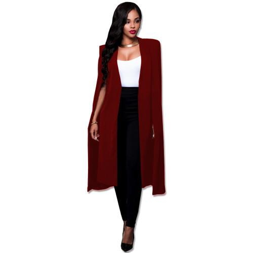 Claret Solid color long big Cape European and American plus size women's suit coat