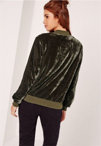 Solid color fashion zip Mock Neck real velvet jacket