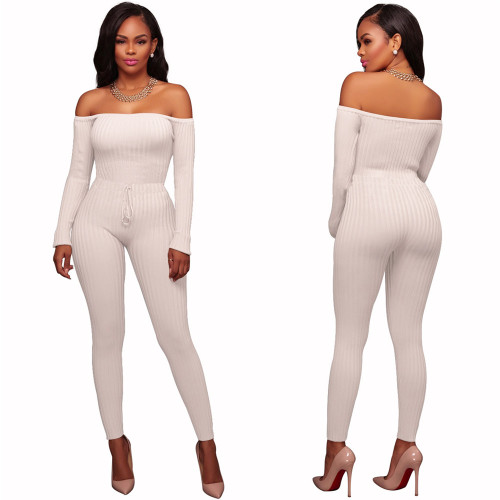 White Night club women's high elastic thread long sleeve with built-in Jumpsuit