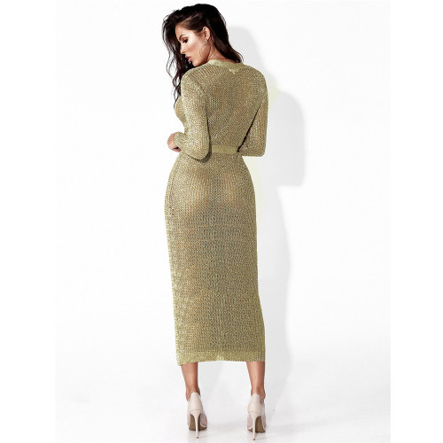 Golden Knitted coat European and American sexy hollow cardigan long coat