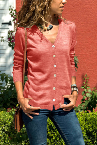 Red Knit Button Cardigan