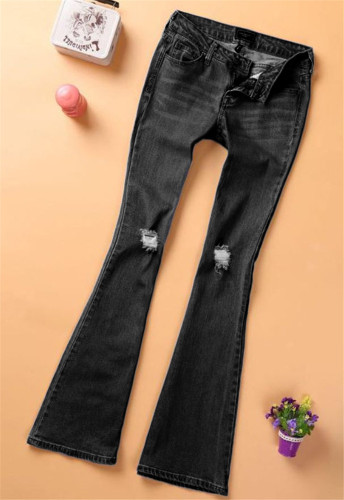 Black High stretch denim flared pants