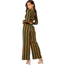 Yellow green stripe Contrast striped V-neck open navel top wide leg pants two piece suit
