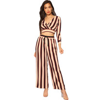 Black and red stripes stripe Contrast striped V-neck open navel top wide leg pants two piece suit