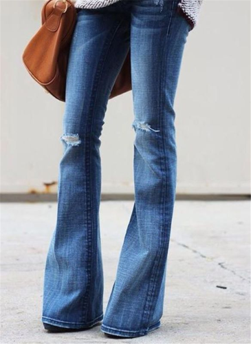 Blue High stretch denim flared pants