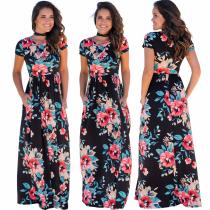 2020 Stylish Digital Camellia Short Sleeve Print Sexy Nightclub Europe and America Long Dress Gown