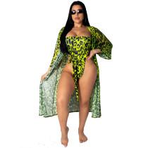 Green Leopard Swimsuit Two Piece Set