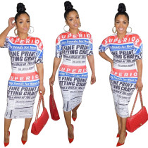 Crew Neck Alphabet Newspaper With Print Positioning Dress