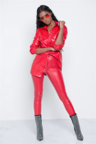 Red Sexy women's PU leather long sleeve shirt