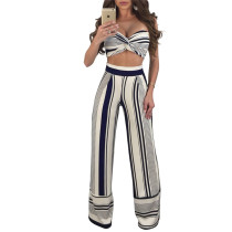 Blue stripe Two piece chest band wide leg set