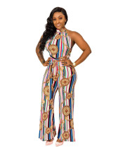 Sexy Sleeveless Maria Chain Color Print Wide-legged Jumpsuit