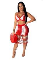 Red Matching Hand-woven Beach Sexy Skirt Two-piece Suits