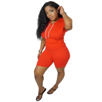 Orange New Short Sleeve Solid Color Sports Style Two-Piece Suits