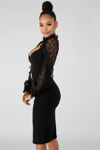Black Hot Sale Bandage Sequins Pull Wrap Hip Mid Length Lace Dress