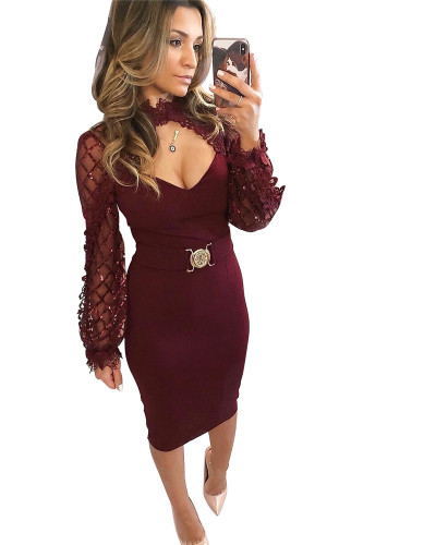Violet Hot Sale Bandage Sequins Pull Wrap Hip Mid Length Lace Dress