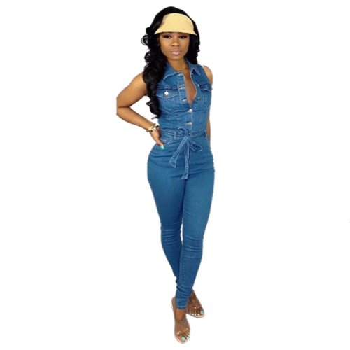 2020 Trendy Sleeveless Lace Up Casual Denim Jumpsuit
