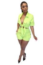 Aqua Lace Up Denim Shorts Fashion Set Casual Two Piece Suits