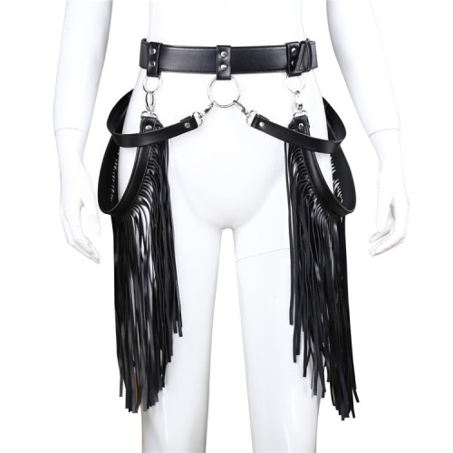 Leather fetters fringed pants