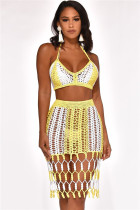 Yellow Matching Hand-woven Beach Sexy Skirt Two-piece Suits