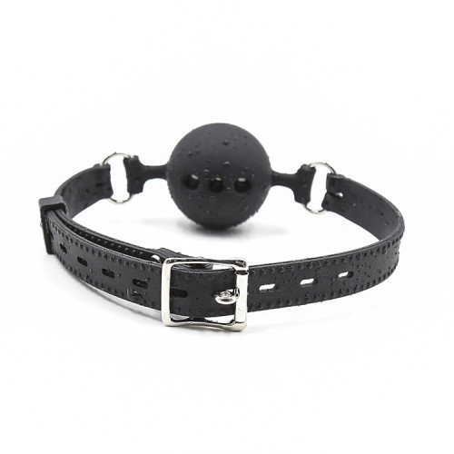 Black Perforated full silicone soft mouth ball