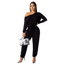 Black Solid color women's overalls