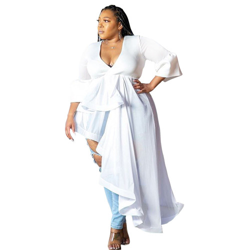 White Plus size women's V-neck dress