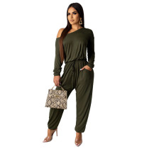 Green Solid color women's overalls