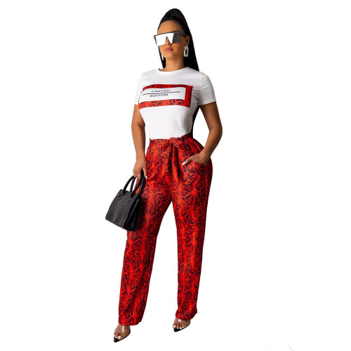 Red Snakeskin wide-leg casual pants