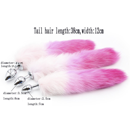 Gradient rose red Artificial hair anal plug tail