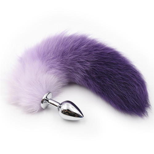Gradient purple Artificial hair anal plug tail