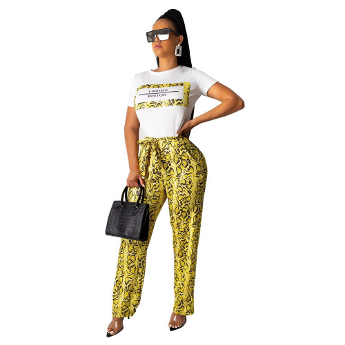 Yellow Snakeskin wide-leg casual pants