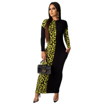 Green Leopard Print Sexy Women's Dress