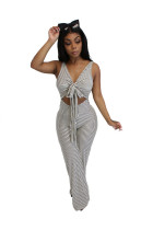 Dynamic Striped Wide Leg Chest Butterfly Tie Jumpsuit