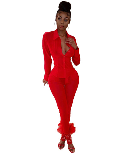 Red Long Sleeve Mesh Perspective Shirt Sexy Club Dress