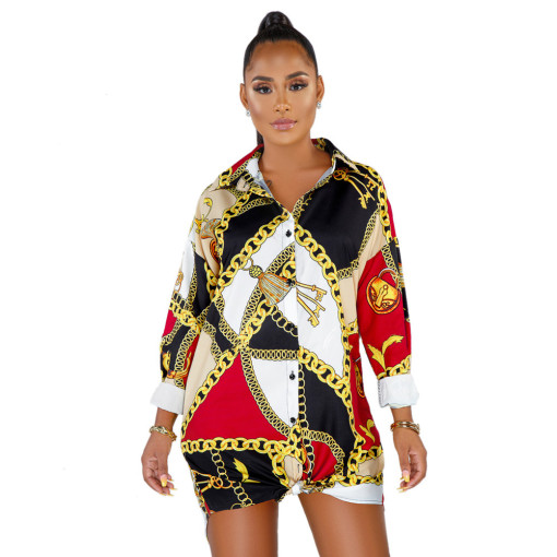 Multicolor Women's Dress with Printed Shirt