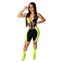 Yellow Fashion slim leggings women's overalls