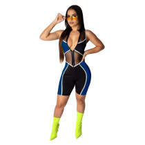 Blue Fashion slim leggings women's overalls