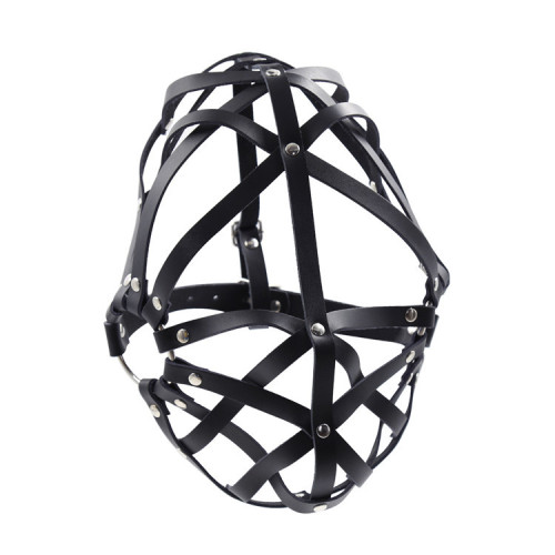 Cross strip leather restraint half-wrap mask
