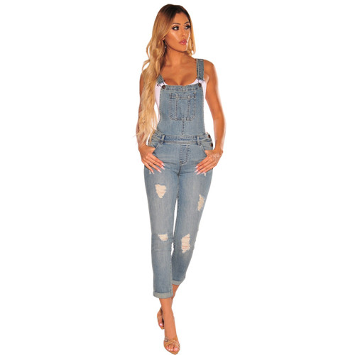 Denim women's fitted body overalls