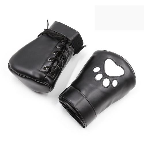 Bear palm bright leather PU handcuffs