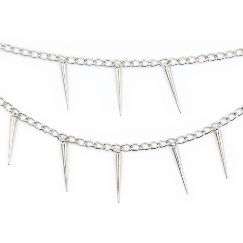 White short breast clip with two spiked chains
