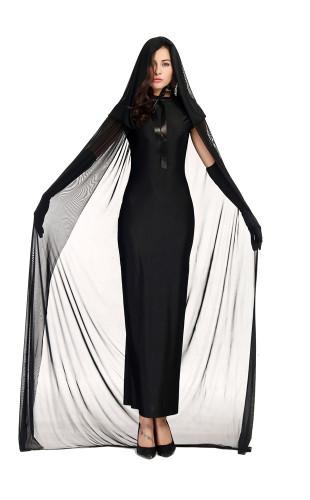 Female ghost night ghost costume in black ghost robe