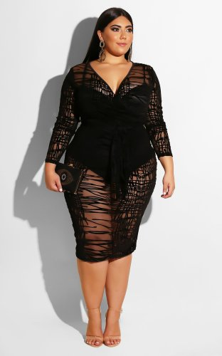 Messy Striped Lace Sheer Hip Oversize Sexy Dress S-6X