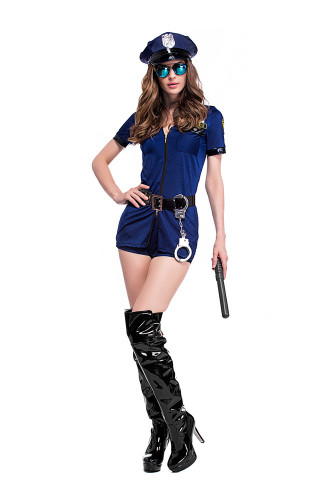 Dark blue skirt pants zipper police uniform