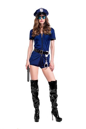 Dark blue skirt pants zipper police uniform