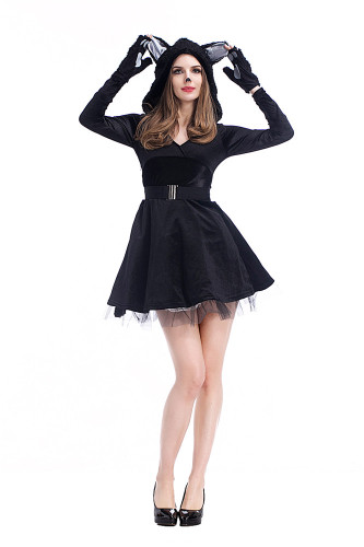 Sexy black cat skirt costume