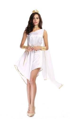 White Goddess Flowing Irregular Dress