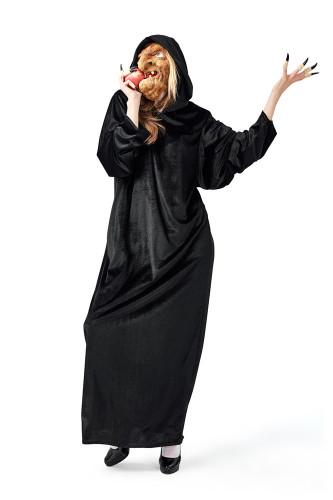 Castle Witch Costume + Mask + Black Finger Set