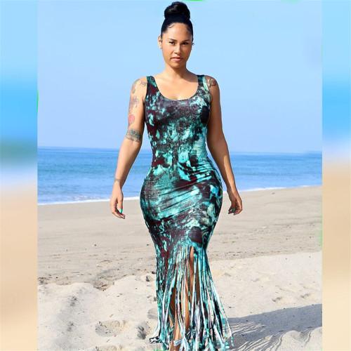 Blue Print Tassel Sleeveless Tank Cropped Sexy Beach Dress